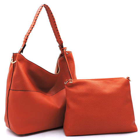 Red Perforated 2-In-1 Shoulder Bag Set