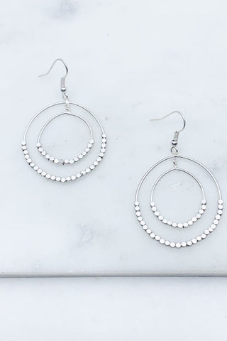 Matte Beaded Round Drop Earring