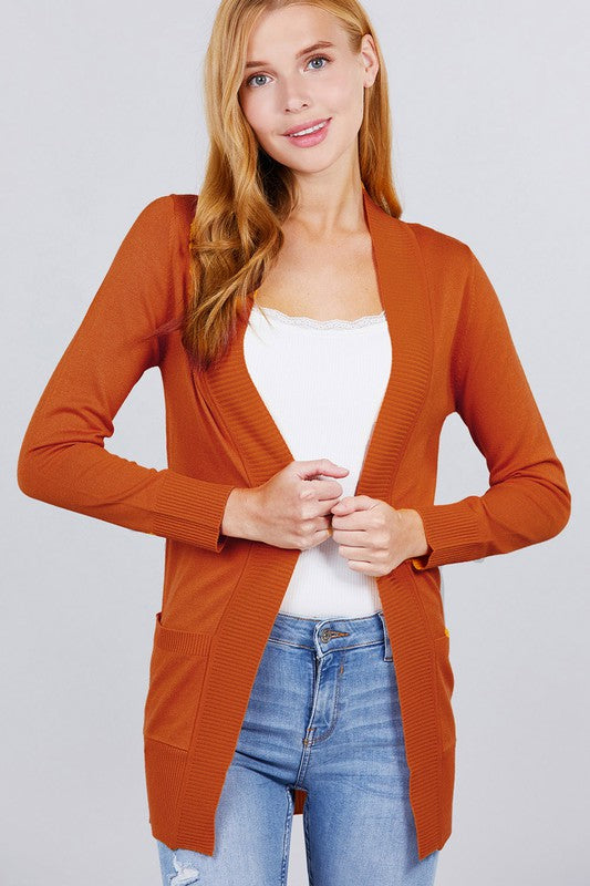 Open Front Cardigan Rust