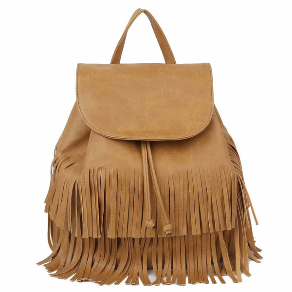 Tan Fringe Drawstring Backpack