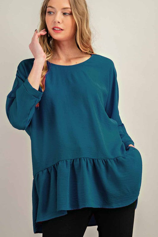 Teal Woven Tiered Boat Neck Top