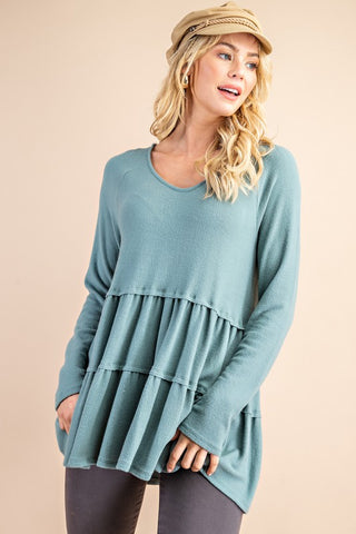 Teal Cashmere Soft Ruffle Top Grey