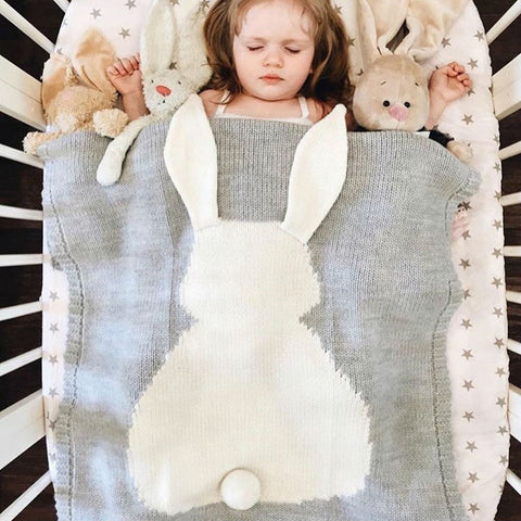 Sweet Knitted Bunny Blanket