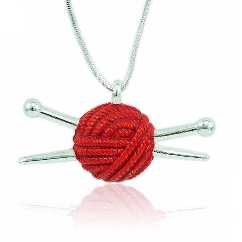 Yarn & Needle Pendant Necklace