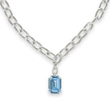 Emerald Cut Pendant Necklace - Blue Crystal/Rhodium Plated