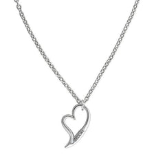 Open Heart Necklace - Crystal/Rhodium Plated