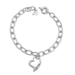Open Heart Bracelet - Crystal/Rhodium Plated