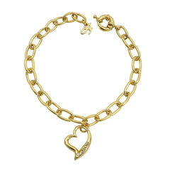 Open Heart Bracelet - Crystal/Gold Plated