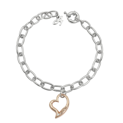 Open Heart Bracelet - Crystal & Rose Gold/Rhodium Plated