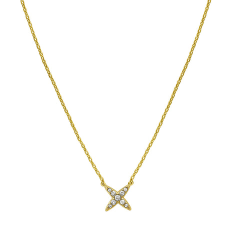 4 Point Star Necklace - Crystal/Gold Plated