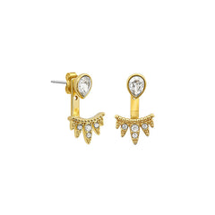Teardrop Jacket Earrings - Crystal/Gold Plated