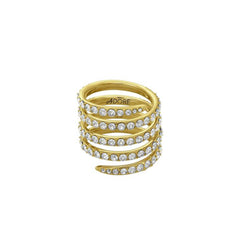 Pavé Coil Ring - Crystal/Gold Plated