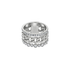 3 Row Fixed Ring - Crystal/Rhodium Plated