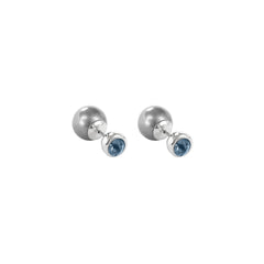 Reverse Pearl & Stone Earrings - Blue Crystal/Rhodium Plated