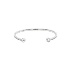 Skinny Pavé & Stone Bangle - Crystal/Rhodium Plated