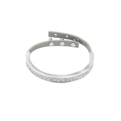Crystal Fabric & Leather Cuff - Crystal/Rhodium Plated