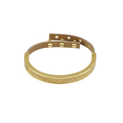 Crystal Fabric & Leather Cuff - Crystal/Gold Plated