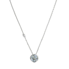 Soft Square Necklace - Blue Crystal/Rhodium Plated