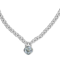Soft Square Lock Necklace - Crystal/Rhodium Plated