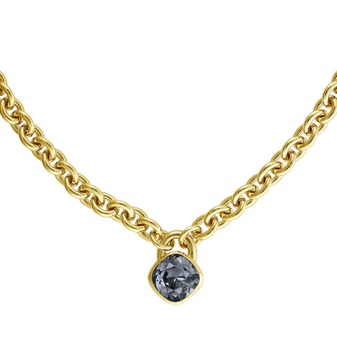 Soft Square Lock Necklace - Blue Crystal/Gold Plated