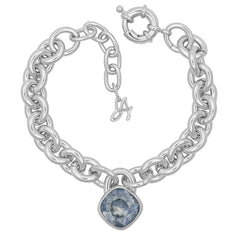 Soft Square Lock Bracelet - Blue Crystal/Rhodium Plated