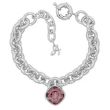 Soft Square Lock Bracelet - Pink Crystal/Rhodium Plated