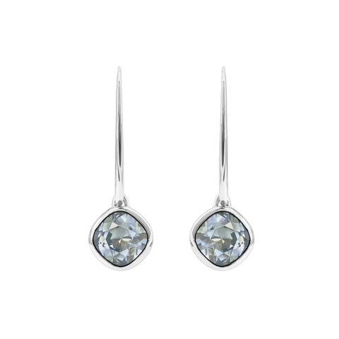 Soft Square French Wire Earrings - Blue Crystal/Rhodium Plated