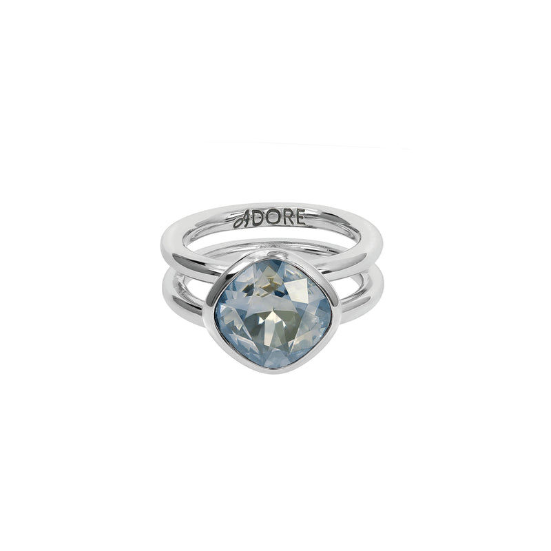 Soft Square Ring - Blue Crystal/Rhodium Plated