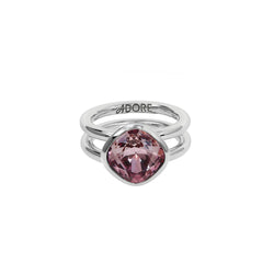 Soft Square Stone Cushion Ring - Pink Crystal/Rhodium Plated