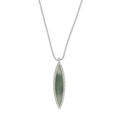 Resin Navette Necklace - Crystal/Rhodium Plated