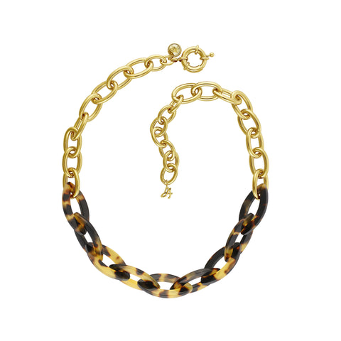 Resin Bold Necklace - Crystal/Gold Plated