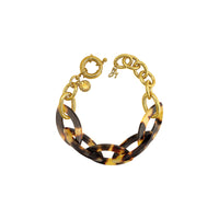Resin Bold Bracelet - Crystal/Gold Plated