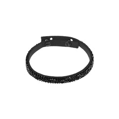 Skinny Crystal Fine Rock Bracelet - Crystal/Black Ultra Suede