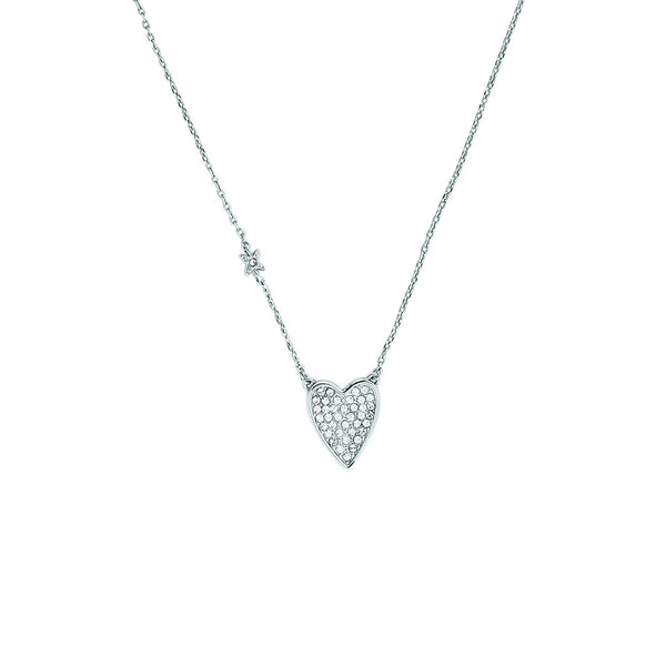 Pointed Heart Necklace - Crystal/Rhodium Plated