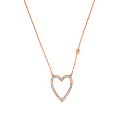 Pointed Open Heart Necklace - Crystal/Rose Gold Plated