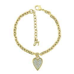Pointed Heart Charm Bracelet - Crystal/Gold Plated