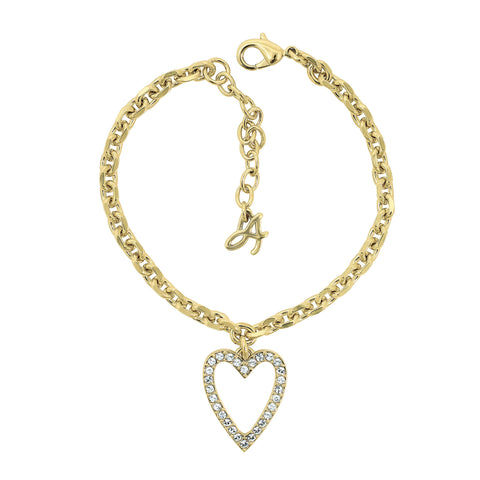 Pointed Open Heart Charm Bracelet - Crystal/Gold Plated
