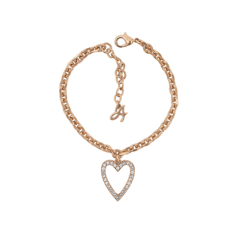 Pointed Open Heart Charm Bracelet - Crystal/Rose Gold Plated