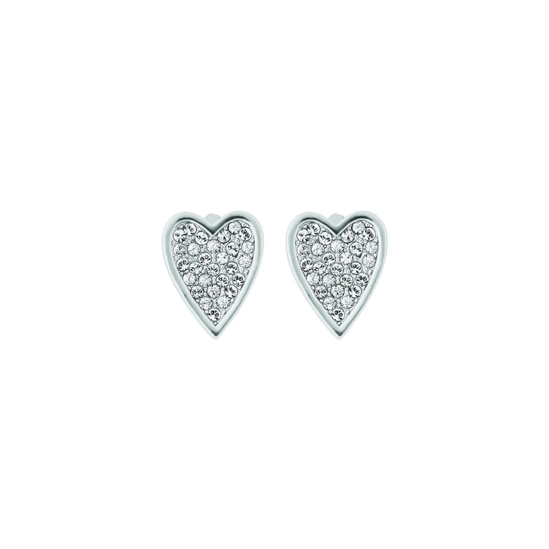 Pointed Heart Earrings - Crystal/Rhodium Plated