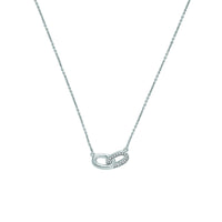 Oval Interlocking Link Necklace - Crystal/Rhodium Plated