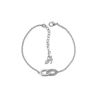 Oval Interlocking Link Bracelet - Crystal/Rhodium Plated