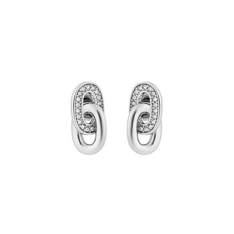 Oval Interlocking Earrings - Crystal/Rhodium Plated