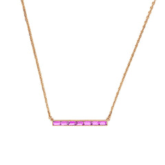 Baguette Bar Necklace - Light Rose Crystal/Rose Gold Plated