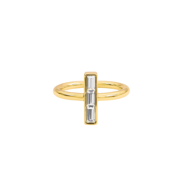 Baguette Bar Ring - Crystal/Gold Plated