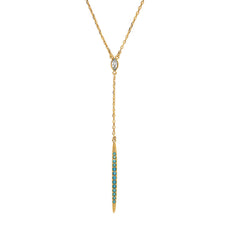 Pavé Bar Y Necklace - Turquoise Crystal/Gold Plated