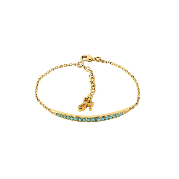 Curved Bar Bracelet - Turquoise Crystal/Gold Plated