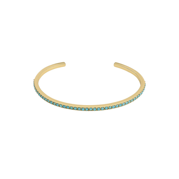 Skinny Pavé Bangle - Turquoise Crystal/Gold Plated