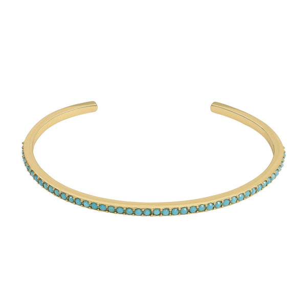 Skinny Pave Bangle - Turquoise Crystal/Gold Plated