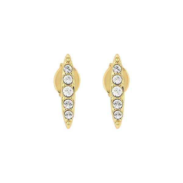 Pavé  Navette Stud Earrings - Crystal/Gold Plated