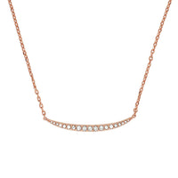 Curved Bar Necklace - Crystal/Rose Gold Plated